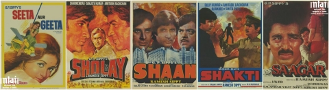 "Posters of Amitabh Bachchan movies Sholay, Shaan, Shakti, among others. (Photograph: Twitter/<a href=""https://twitter.com/NFAIOfficial"">NFAI</a>)"