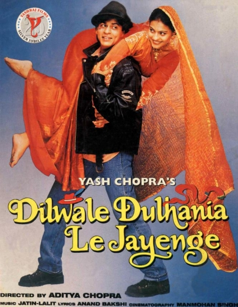 "A poster of the 1995 movie Dilwale Dulhania Le Jayenge. (Photograph: Twitter/<a href=""https://twitter.com/NFAIOfficial"">NFAI</a>)"