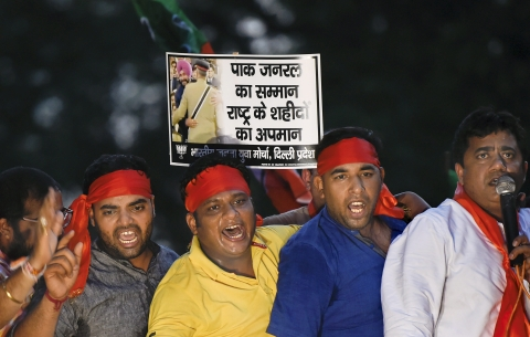 Delhi BJP Yuva Morcha workers stage a protest against Punjab Minister Navjot Singh Sidhu for visiting Pakistan, in New Delhi on August 21, 2018. Photograph: Kamal Singh/PTI)