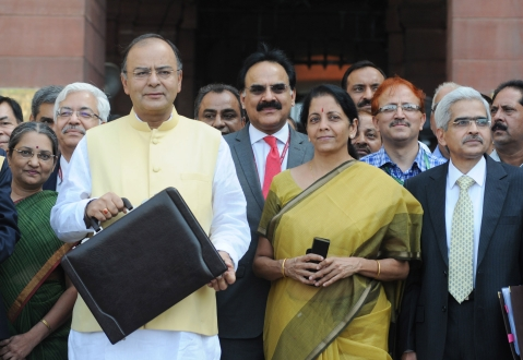 Finance Minister Arun Jaitley, before the first union budget of the Modi government, on July 10, 2014. (Photograph: PIB)