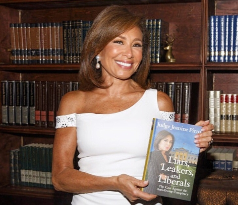 "Jeanine Pirro with her new book 'Liars, Leakers, and Liberals'. (Photograph: <a href=""https://twitter.com/JudgeJeanine"">@<b>JudgeJeanine</b></a>/Twitter)"