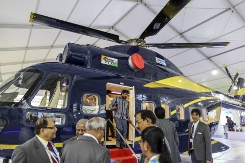 A prototype of an Indian Multi Role Helicopter, manufactured by Hindustan Aeronautics Ltd. at the Aero India 2017 air show. (Photographer: Dhiraj Singh/Bloomberg)