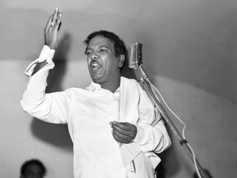 "M Karunanidhi in the early days of the DMK. (Image: <a href=""https://twitter.com/kalaignar89"">@<b>kalaignar89</b></a>)"