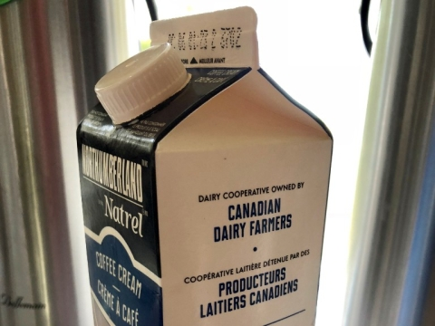 A carton of Canadian milk, at Canada's Campobello Island, which borders Lubec, Maine, the easternmost point in the continental United States. (Photograph: Raj Bhala)