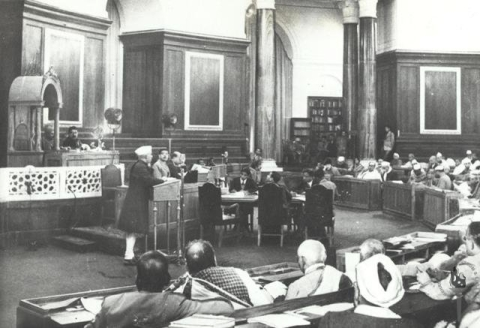 The Constituent Assembly with Sachchidananda Sinha as provisional Chairman in the presidential chair, on on Dec.10, 1946. (Photograph: Nehru Memorial Museum and Library)