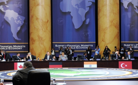 Prime Minister Manmohan Singh and Finance Minister P Chidambaram at the Summit on Financial Market and the World Economy, at Washington, USA on November 14, 2008. (Photograph: PIB)