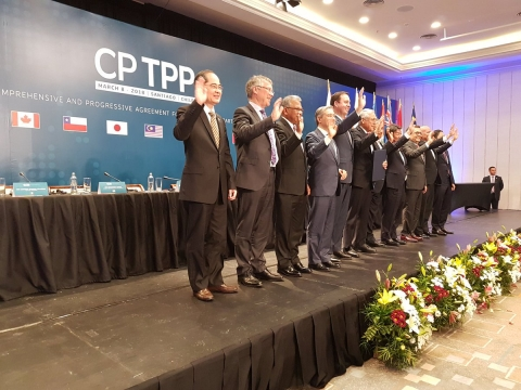 "Trade ministers of the 11 CPTPP countries after signing the agreement on March 8, 2018. (Photograph: <a href=""https://twitter.com/ChileMFA"">@<b>ChileMFA</b></a>/Twitter)"