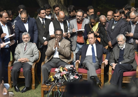 From left to right, Justice Kurien Joseph, Justice Chelameswar, Justice Ranjan Gogoi and Justice Madan Lokur addressing the media on January 12, 2018. (Courtesy: PTI)