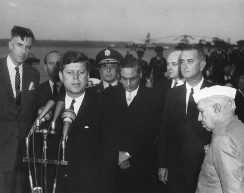 "U.S. President John F. Kennedy speaks during the arrival ceremonies for Jawaharlal Nehru, Prime Minister of India, at Andrews Air Force Base, Maryland, on November 6, 1961. (Photograph: <a href=""https://www.jfklibrary.org/Search.aspx?nav=Ntk:p_ContainerDigID%7cJFKWHP%2f-1961%2f-11%2f-06%2f-A%7c1%7c,Rpp:20,N:4294916916"">White House Photographs</a>/JFK Library)"