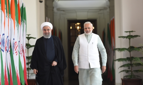 Prime Minister Narendra Modi with the President of the Islamic Republic of Iran,  Hassan Rouhani, at Hyderabad House, in New Delhi, on February 17, 2018. (Photograph: PIB)