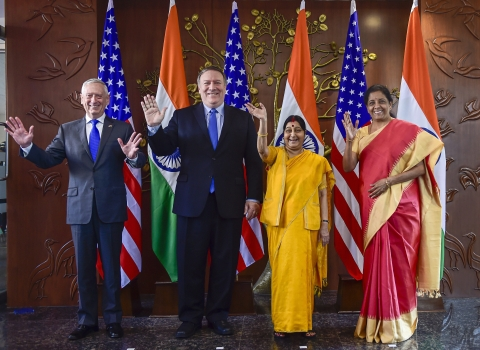 External Affairs Minister Sushma Swaraj, Defence Minister Nirmala Sitharaman, U.S. Secretary of State Mike Pompeo and U.S. Secretary of Defence James Mattis before India-U.S. 2 + 2 Dialogue, in New Delhi, on  Sept. 6, 2018. (Photographer: Kamal Singh/PTI)