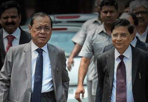 Incoming Chief Justice of India Ranjan Gogoi (left), with his predecessor Chief Justice Dipak Misra. (Photograph: PTI)