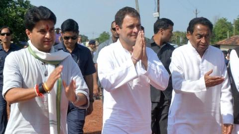 President Rahul Gandhi Jyotiraditya Scindia and Kamal Nath in Rewa, Madhya Pradesh, on  September 28, 2018. (Photograph: PTI)