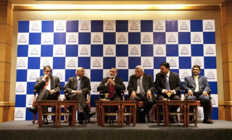 The government-appointed special board of Satyam Computer Services at a news conference in Mumbai,  on Apr. 13, 2009. (Photographer: Prashanth Vishwanathan/Bloomberg News)