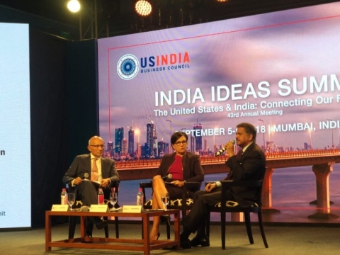 "Anand Mahindra, chairman of the Mahindra Group, and former U.S. Commerce Secretary Penny Pritzker, at the U.S.-India Business Council meeting, in Mumbai, on September 6, 2018. (Photograph: <a href=""https://twitter.com/USIBC"">@<b>USIBC</b></a>/Twitter)"