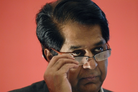 KV Kamath, then managing director and chief executive officer of ICICI Bank at a news conference in Mumbai. (Photographer: Abhijit Bhatlekar/Bloomberg News)