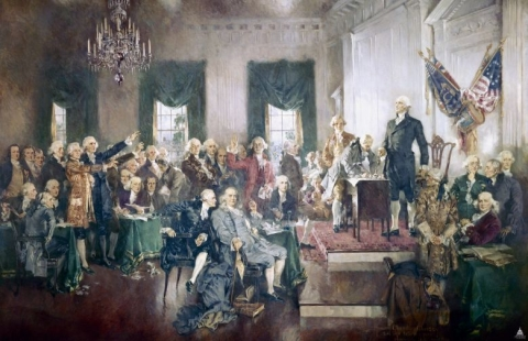 Howard Chandler Christy's painting depicting the signing of the United States Constitution at Independence Hall in Philadelphia on September 17, 1787. (Image: U.S. Architect Of The Capitol)