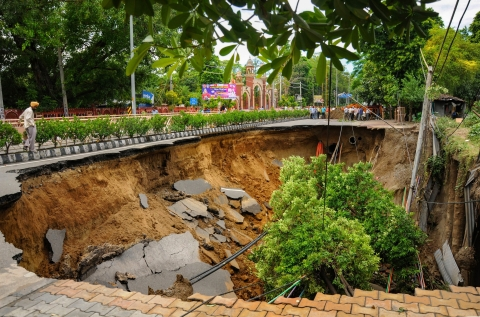 A collapsed road in Amritsar. (PTI)