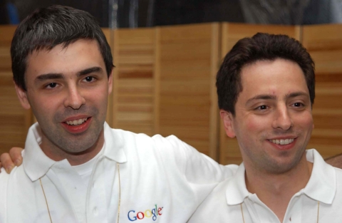 Larry Page, left, and Sergey Brin, co-founders of Google, in San Francisco, California, on June 18, 2002. (Photographer: Stephen Higgins/ Bloomberg News)