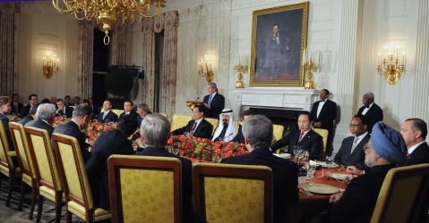 U.S. President George W Bush addressing the Heads of State at a dinner hosted by him in White House in connection with the Summit on Financial Market and the World Economy, at Washington, USA on November 14, 2008. (Photograph: PIB)