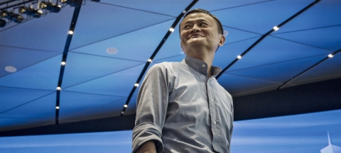 Jack Ma, chairman of Alibaba Group Holding Ltd., reacts to a question during a Bloomberg Television interview at the company's headquarters in Hangzhou, China (Photographer: Qilai Shen/Bloomberg)