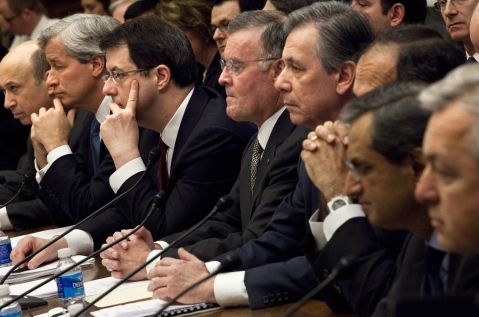 Chief executive officers from eight of the largest U.S. banks receiving government aid testify at a House Financial Services Committee hearing in Washington, D.C., U.S., on Feb. 11, 2009. (Photographer: Brendan Smialowski/Bloomberg)