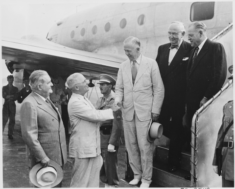 U.S. President Harry Truman sees off Secretary of State George Marshall at National Airport in Washington, D. C., on Aug. 13, 1947. (Photograph: U.S. National Archives)
