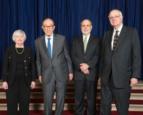 Chairpersons of the U.S. Federal Reserve, Janet Yellen, Alan Greenspan, Ben Bernanke, and Paul Volcker. (Photograph: Federal Reserve)
