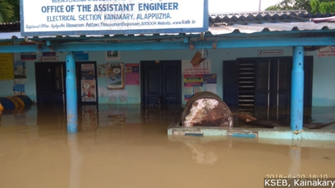 The KSEB office in low-lying Kainakary, a couple of metres from the backwaters, was flooded. The substation was switched off for nearly four days.