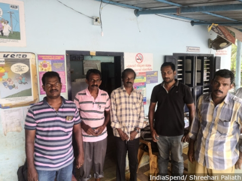 The staff at the Kainakary office that helped restore power in low-lying Kuttanad.