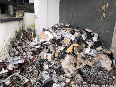 Pile of electricity meters that were damaged or have been replaced in Chengannur sub-division which was among the worst affected by the August 2018 flood.