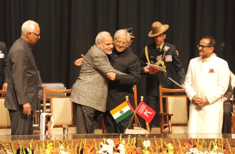 "Prime Minister Narendra Modi congratulates  Mufti Mohammad Sayeed after the latter's swearing-in as Chief Minister of Jammu and Kashmir, in Jammu, on March 1, 2015. (Photograph: PIB)<a href=""http://pibphoto.nic.in/photo//2015/Mar/l2015030162719.jpg""><i><br></i></a>"