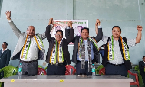 Conrad Sangma during an election rally in support of party candidates ahead of Mizoram Assembly elections in Kolasib, Mizoram, on Nov. 21 2018. (Photograph: PTI)