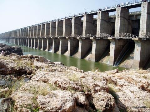 The Priyadarshini Jurala dam in the Krishna Basin, Mahbubnagar, Telangana. (Image: Water Resources Information System of India)