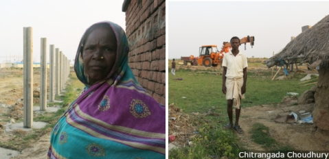 "Officials and Adani personnel claim land acquired for a power plant will not displace anyone. But the plant site is enveloping homes of Dalit and Adivasi villagers, such as Punam Sugo Devi and Karu Laiyya (right). ""Where are the poor supposed to go?"" Devi asks."
