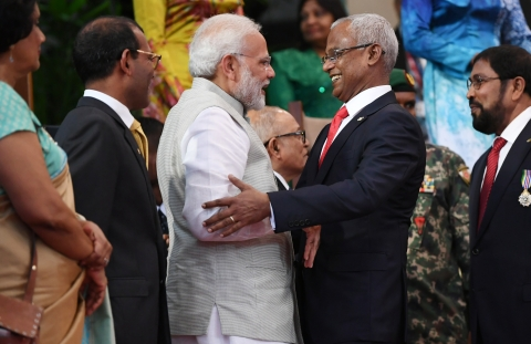 Prime Minister Narendra Modi attends the inauguration ceremony of  Ibrahim Mohamed Solih, in Male, Maldives on Nov.  17, 2018. (Photograph: PIB)