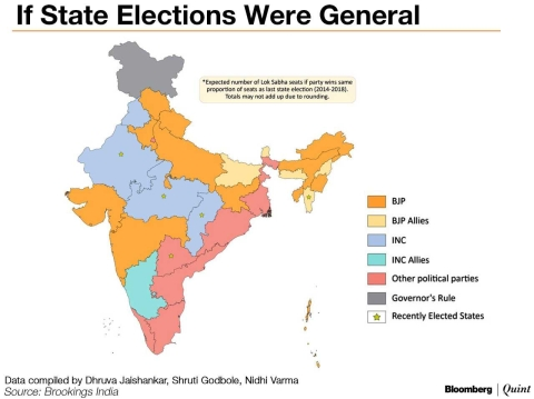 Political Parties By State Map.Elections 2019 If India S 2014 2018 State Elections Were The