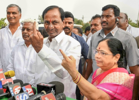Telangana caretaker Chief Minister K Chandrasekhar Rao after casting his vote in Hyderabad, on Dec. 7, 2018. (Photograph: PTI)