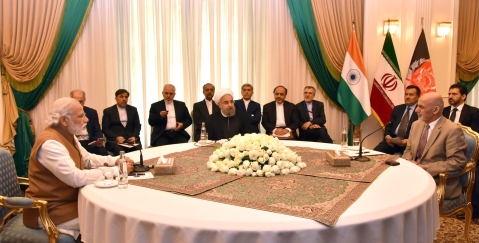 """Prime Minister Narendra Modi with the President of Iran, Hassan Rouhani and the President of Afghanistan, Mohammad Ashraf Ghani, during the Trilateral meeting, in Tehran on May 23, 2016. (Photograph: PIB)<a href=""""https://www.facebook.com/sharer/sharer.php?u=http://pibphoto.nic.in/photo//2016/May/l2016052383745.jpg""""><i><br></i></a>"""