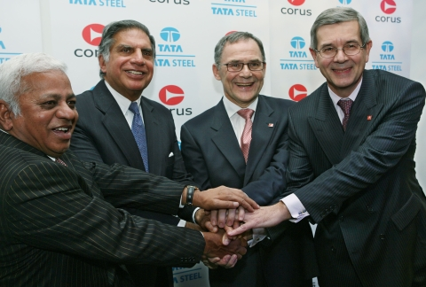 Top executives of Tata Steel and Corus Group, after a news conference, in London, on Oct. 20, 2006. (Photographer: Suzanne Plunkett/Bloomberg News)