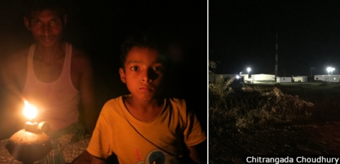 The 1600 megawatts of electricity generated from the Adani power plant will be sold to Bangladesh. Villages losing their farms and commons to the plant get by on kerosene lamps. The only electricity in the area was at the plant site (right).