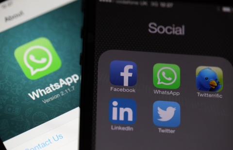 Icons for social media applications including the WhatsAp. (Photographer: Chris Ratcliffe/Bloomberg)