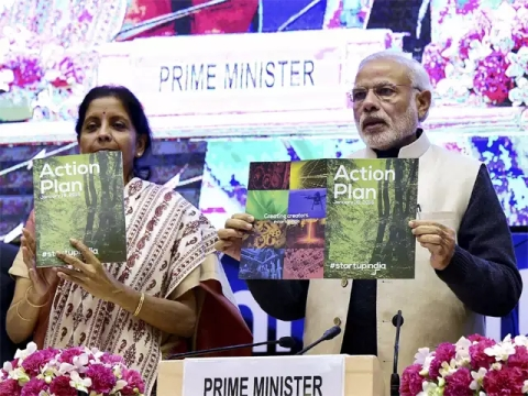 PM Modi while launching the Startup India Action Plan in 2016. (Source: PTI)
