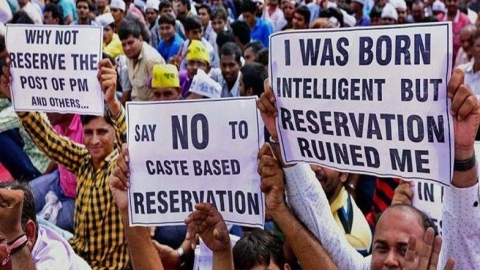 An anti-reservation protest. (Photograph: PTI)
