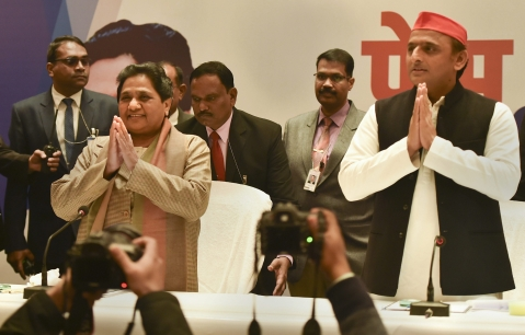 Mayawati and Akhilesh Yadav announce the BSP-SP alliance, in Lucknow, on Jan 12, 2019. (Photograph: PTI)