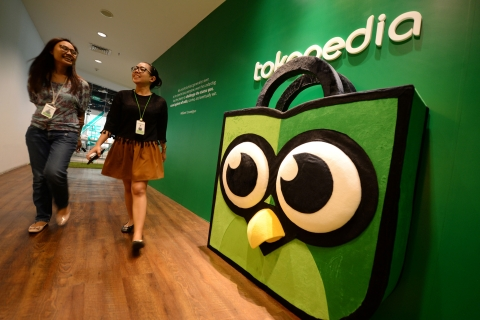 Tokopedia's mascot Toped displayed at the company's offices in Jakarta, Indonesia. (Photographer: Dimas Ardian/Bloomberg).