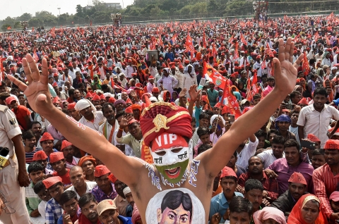 Nishad Vikas Sangha supporters during their Maharally for reservation, on Nov. 4, 2018. (Photograph: PTI)