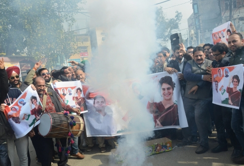 Congress workers celebrate the appointment of Priyanka Gandhi as AICC General Secretary, in Jammu, on Jan 24, 2019. (Photograph: PTI)