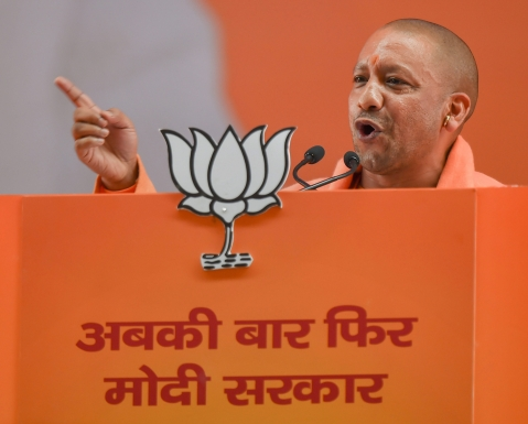 Yogi Adityanath addresses the BJP National Convention  in New Delhi, on Jan. 12, 2019. (Photograph: PTI)