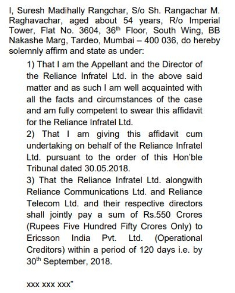 Undertaking by Reliance Directors - Supreme Court Order